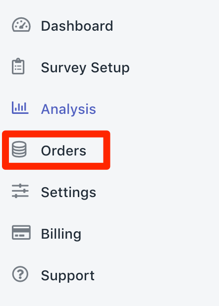 Orders menu